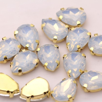 10pcs 10x14mm Teardrop Opal Jelly Crystal Stone