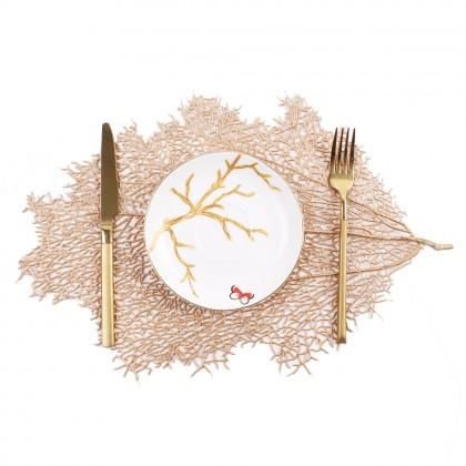Gold Table Mat Europian Style Leaves Design PVC Pelapik Alas Meja For Ramadhan Hari Raya Dining Table Decoration 欧式烫金树叶餐垫