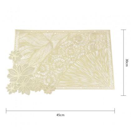 Silver Rectangle Table Mat Europian Style Flowers Design PVC Pelapik Alas Meja For Dining Table Decoration 欧式烫金长方形花卉餐垫