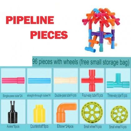 96pcs 238pcs Pipeline Building Blocks Play Set For Kids Birthday Christmas Present