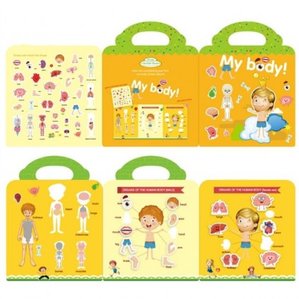 Body Parts Stickers Book Reusable Children Stickers Educational Learning Book